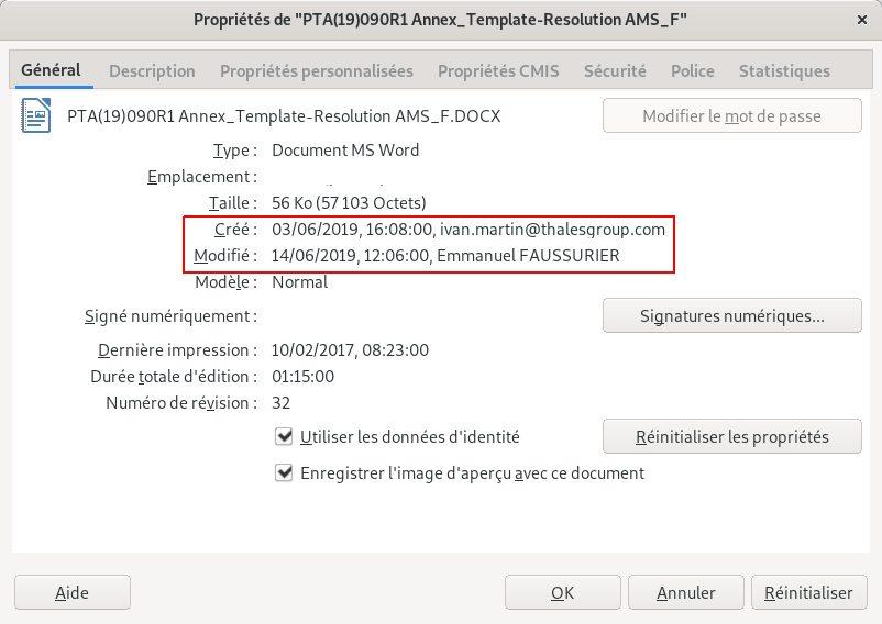 Screenshot of Word Document Properties